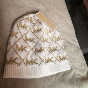 Michael Kors Cream Beanie Hat One Size Fits All